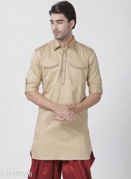 Vastramay Men's Beige Cotton Satin Blend Kurta