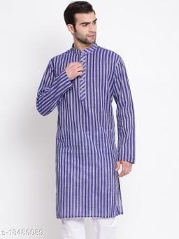 Vastramay Men's Blue Pure Cotton Kurta