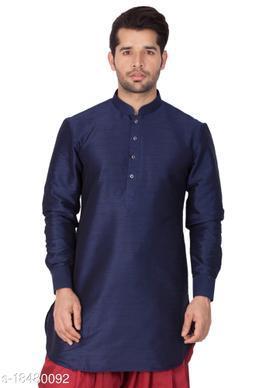 Vastramay Men's Blue Silk Blend Kurta