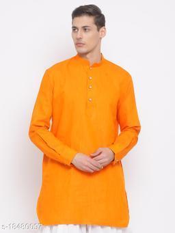 Vastramay Men's Orange Cotton Kurta