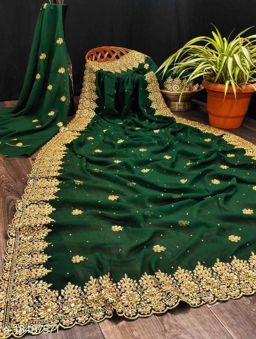 Beautiful zari work georgette saree
