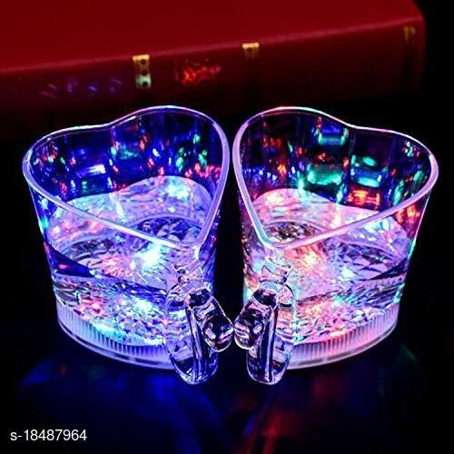 Valentine Heart Shape Rainbow Color Cup LED Flashing Multicolor Color Changing Pour Water or Tea, Lighting Cup, Kids and Lovers Gift and Parties Surprise Gift | Attractive Glass | Birthday (SET OF 2)