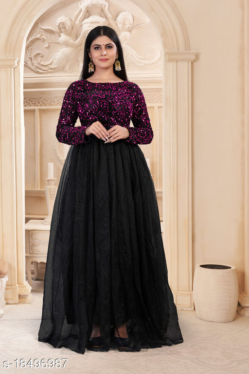 Stylish Fashionable Women's Sequnce and Soft Net Gown
