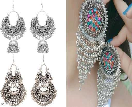 Samridhi Stylish Combo pack of 3 Oxidised Silver Earrings