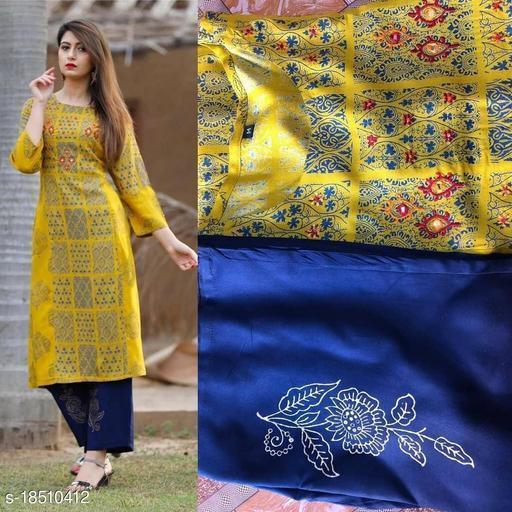 Women Viscose Rayon Straight Embroidered Long Kurti With Palazzos