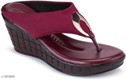 Fashion Women's Wedges Sandal Casual Wear Heel Sandal Maroon