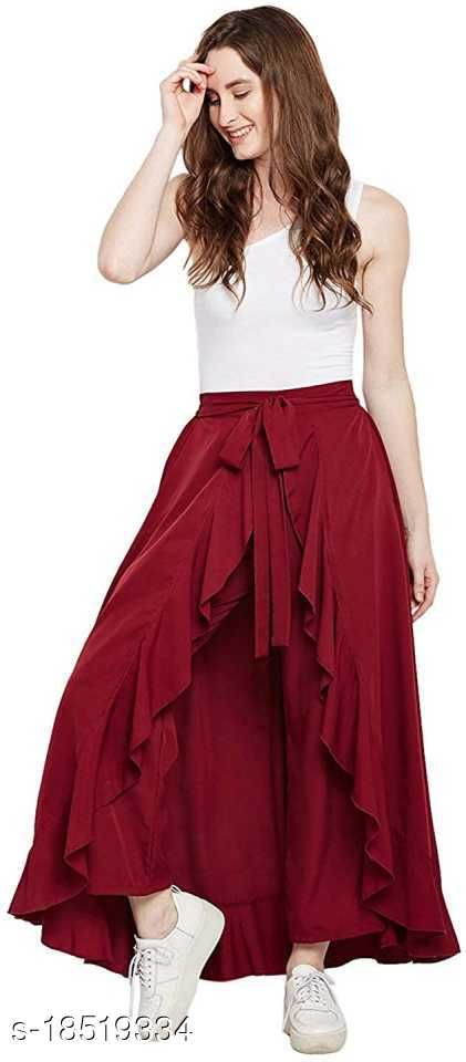 Regular Fit Women Maroon Poly Crepe Trousers Palazzos