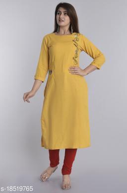 Women Cotton Linen A-line Solid Yellow Kurti