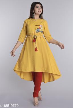 Women Cotton Linen High-Low Embroidered Yellow Kurti
