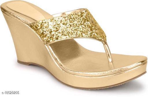 Brands Bucket Latest Collection Fancy Wedges Sandal for Women Golden…