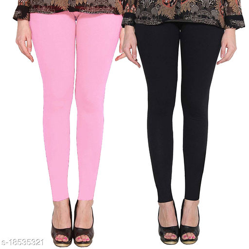 Lets Shine cotton lycra 160 GSM 4 way stretchable Ankle length leggings for females of free size (Baby Pink & Black)