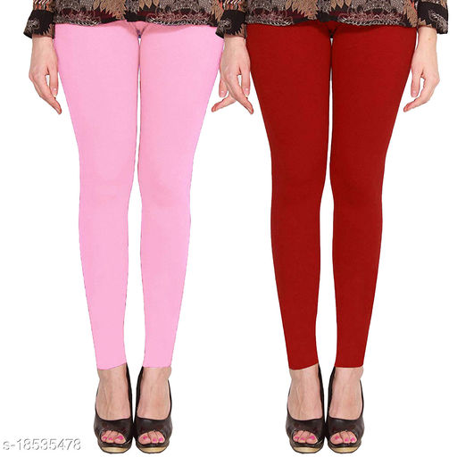 Lets Shine cotton lycra 160 GSM 4 way stretchable Ankle length leggings for females of free size (Baby Pink & Maroon)