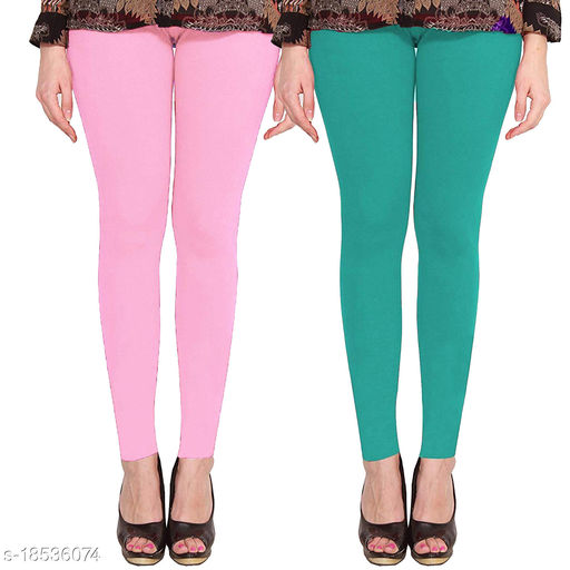 Lets Shine cotton lycra 160 GSM 4 way stretchable Ankle length leggings for females of free size (Baby Pink & Sea Green)