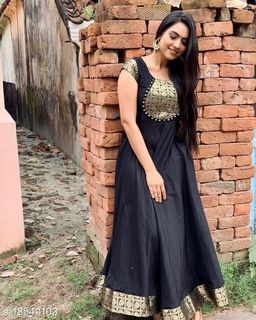 Black Colored Party Wear Readymade Cotton Gown