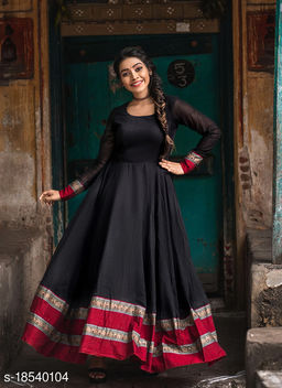 Flattering Black Colored Party Wear Woven Pure Cotton Gown