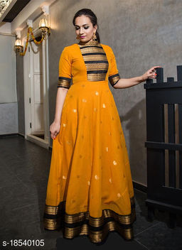 Classy Mustard Colored Party Wear Silk Jacquard Weaving Work Gown