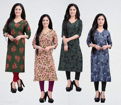 Women's Crepe Printed Straight cut Kurti
