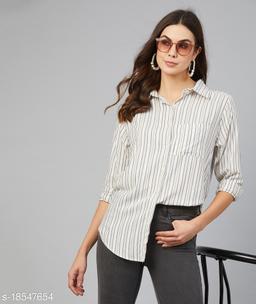 Chimpaaanzee Women White & Yellow Striped Shirt