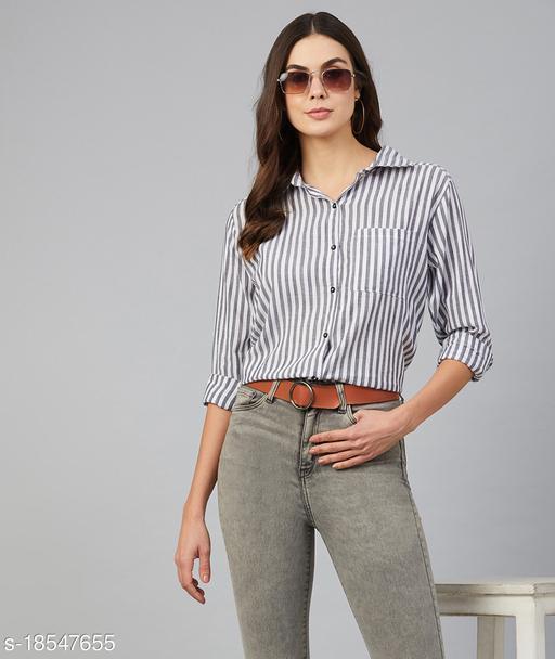 Chimpaaanzee Women Black & White Striped Shirt