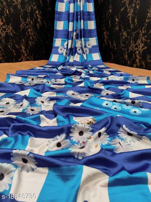 Fabric House Multicolor Satin Digital Print Saree With Blouse