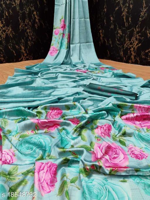 Fabric House Blue Satin Digital Print Saree With Blouse