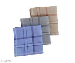 S4S 100% Cotton Mens Multicolor Striped Handkerchiefs (Pack of 3)