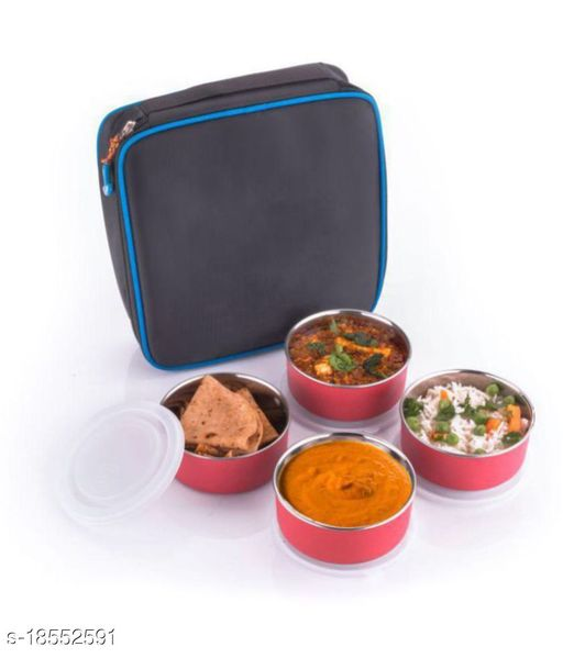 Pink Stainless Steel Lunch Box 4 pic continer
