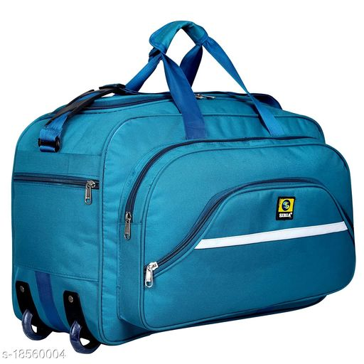 SIBIA Latest Nylon 55 litres Strolley Duffel Bag nevi Blue Waterproof Travel Duffle Bag with Roller Wheels (Blue)