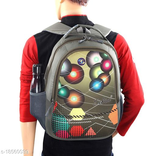 SIBIA Stylish Polyester Laptop Backpack for Travelling/Colleges/for Both Men and Women (Grey)[(CB7-00007MG)]