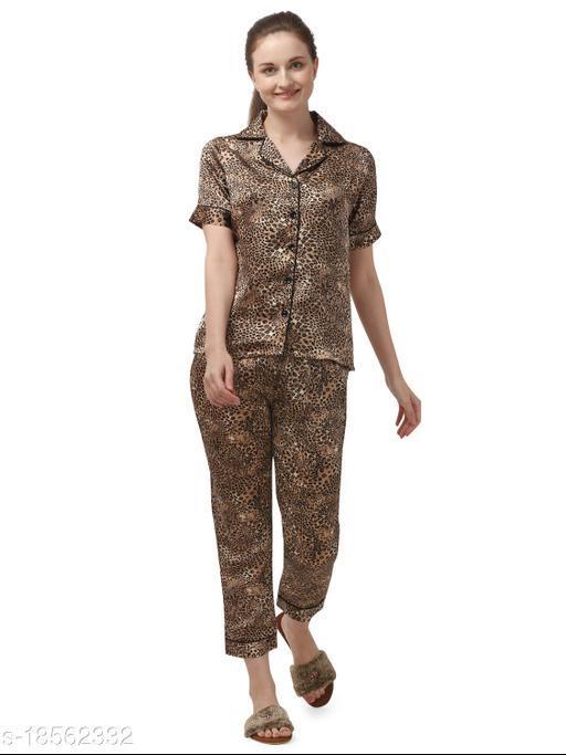 Sweattire Women's Printed Silk Satin Night Suit with Pajama