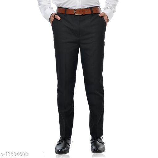 Athens Men's Slim Fit Matty Regular Flat Front Black Trouser Pant