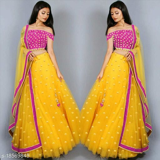 Women's new stylish and bollywood latest 2021 net lehenga choli for women latest design with embroidery work with blouse piece