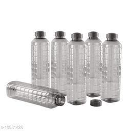 Saura Esquare Fridge Bottle 1000 ml Set of 6 Smoke Black