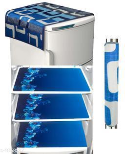 LooMantha Combo Pack of 1 Pc Fridge Top Cover, 1 Pc Handle Cover, 3 Pc Fridge Mat