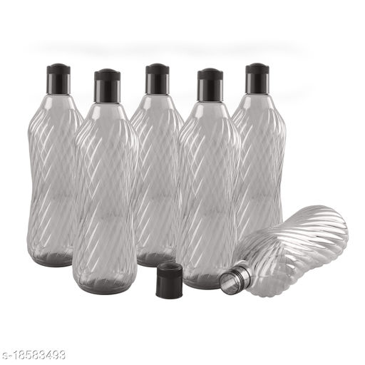 Saura Aqua Fridge Bottle 1000 ml Set of 6 Smoke Black
