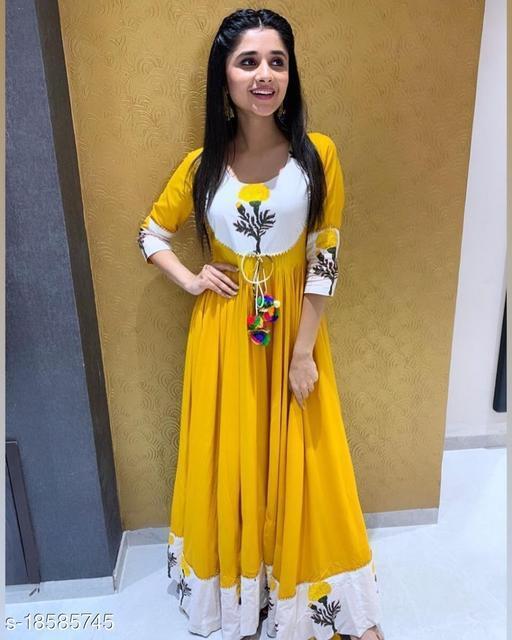 Women Rayon Gown Self-Design Yellow Kurti