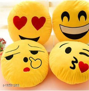 Decorative 4 Pack Smiley/Emoji Embroidery work pillows