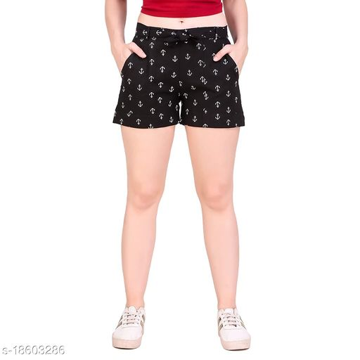 Aawari Anchor Printed Cotton Shorts with Belt for Girls and Women Black S