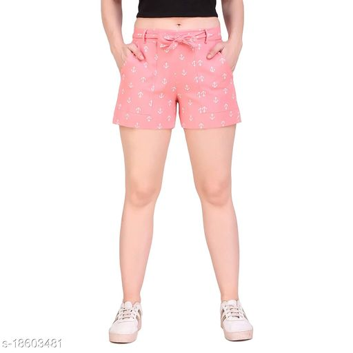Aawari Anchor Printed Cotton Shorts with Belt for Girls and Women Peach S