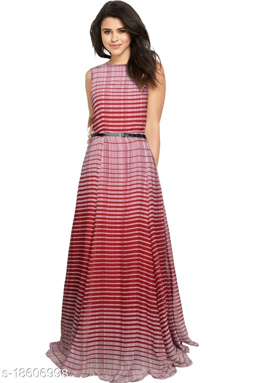"""Sleeveless Striped Heavy Georgette Maroon Party Wear Gown (56""""Inches)"""