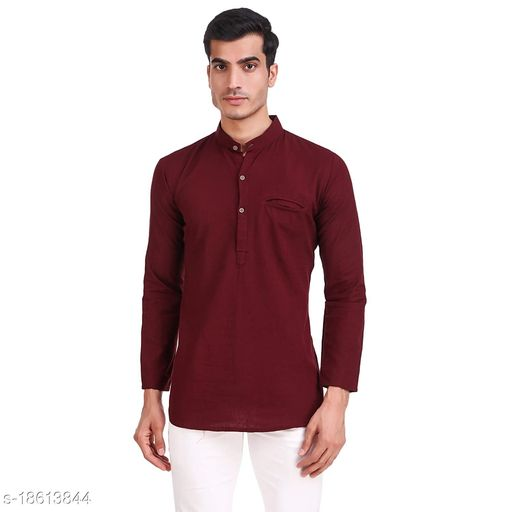 Rajkanya Cotton Regular Fit Chinese Collar Casual Shirt for Men Maroon L