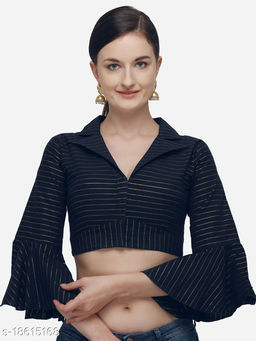 Women's Printed Navy Blue Phantom Silk Blouse With Collared Neck  (BL-20058-Navy_Blue)_Free_Size
