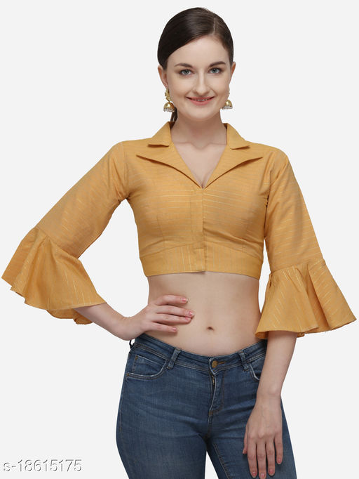 Women's Printed Yellow Phantom Silk Blouse With Collared Neck  (BL-20058-Yellow)_Free_Size
