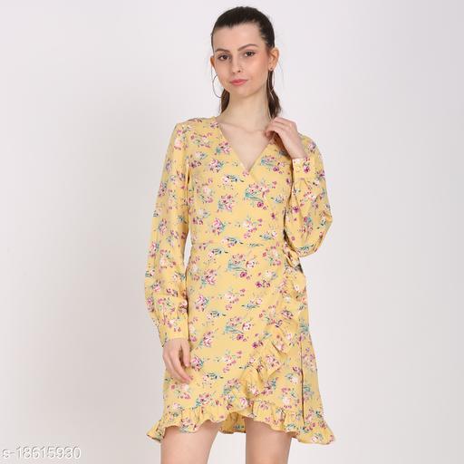 WOMEN FLORAL PRINT YELLOW COLOR WRAP DRESS