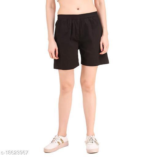 Aawari Cotton Elastic Shorts For Girls and Women Black