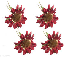 GadinFashion™ Set Of 4 Pcs Flower Style Hair Juda Pins For Hair Styling And Bun Decoration Accessories Pins Gajra for Women and Girls Color-Red