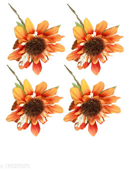 GadinFashion™ Set Of 4 Pcs Flower Style Hair Juda Pins For Hair Styling And Bun Decoration Accessories Pins Gajra for Women and Girls Color-Orange
