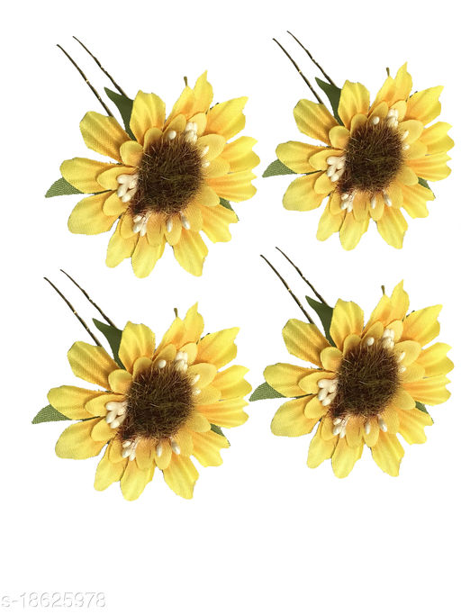 GadinFashion™ Set Of 4 Pcs Flower Style Hair Juda Pins For Hair Styling And Bun Decoration Accessories Pins Gajra for Women and Girls Color-Yellow
