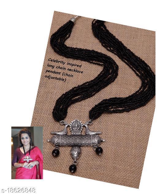 German Silver Black Poth Mala with vidhya Balan Style inspired pendant