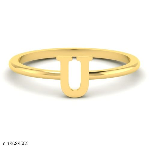 Gold Plated Alphabet Letters Ring For Girls & Women by JAIPUR GEMSTONE